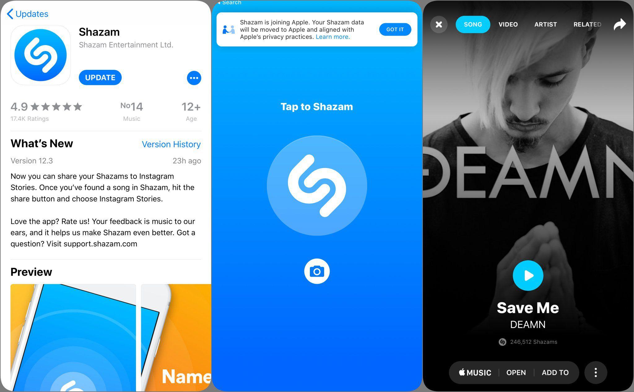 Shazam có update mới, hiện đã có thể chia sẻ nhạc trực tiếp lên