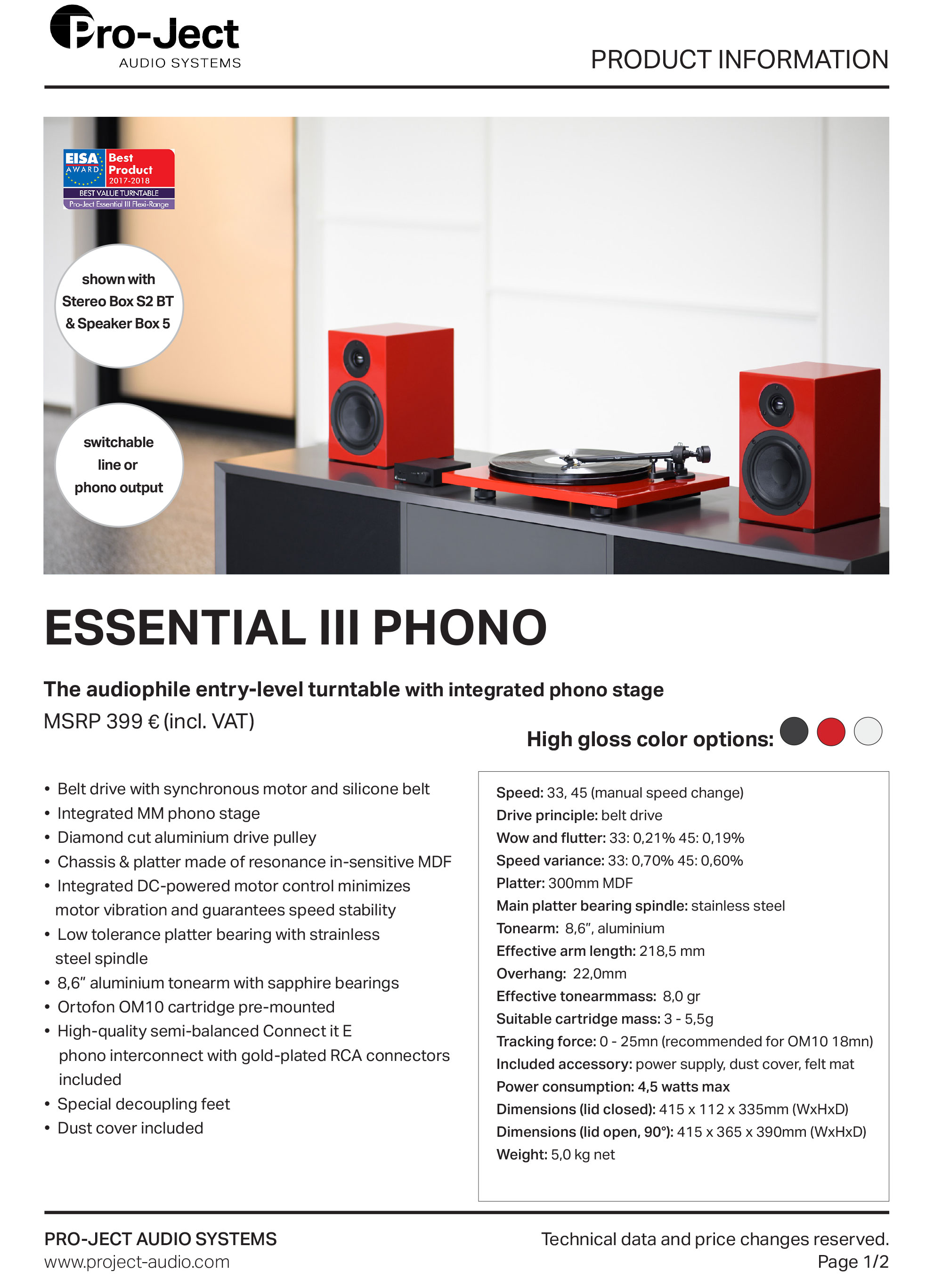 Project Essential 3 Phono